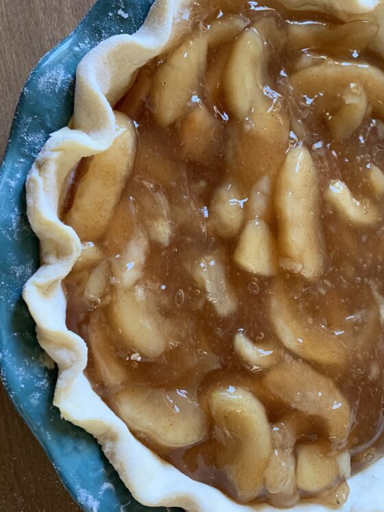 pie with apple filling, no top crust.