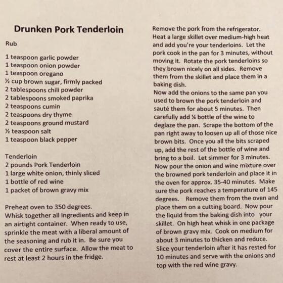 Drunken Pork recipe