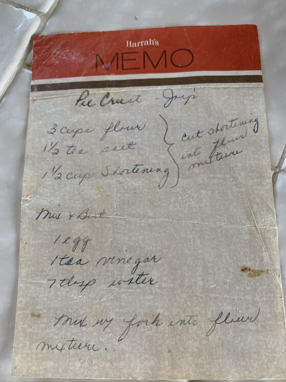 Handwritten recipe on memo paper.