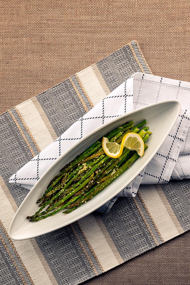 Asparagus in oblong serving bowl