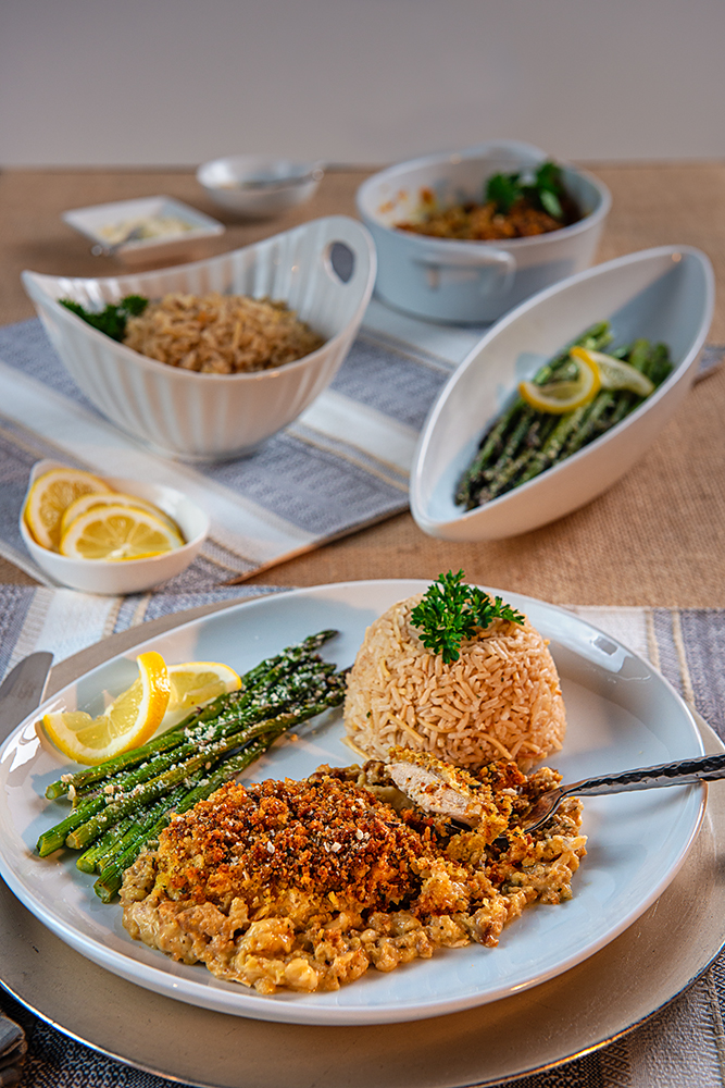 Table set with Rice, Chicken and Asparagus