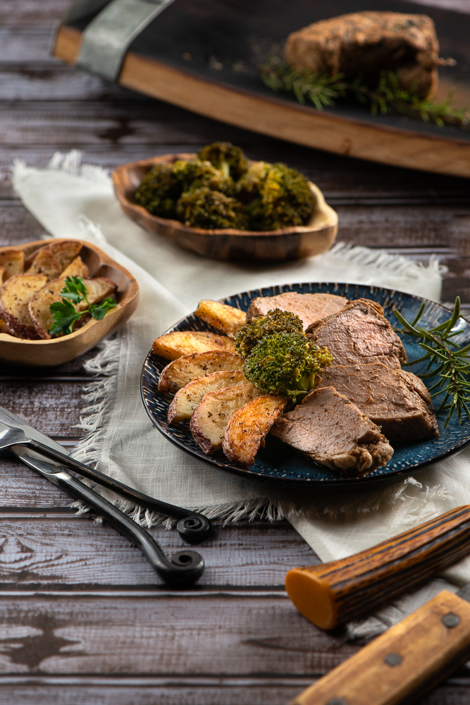 Pork Tenderloin, Roasted Potatoes and Broccoli servings