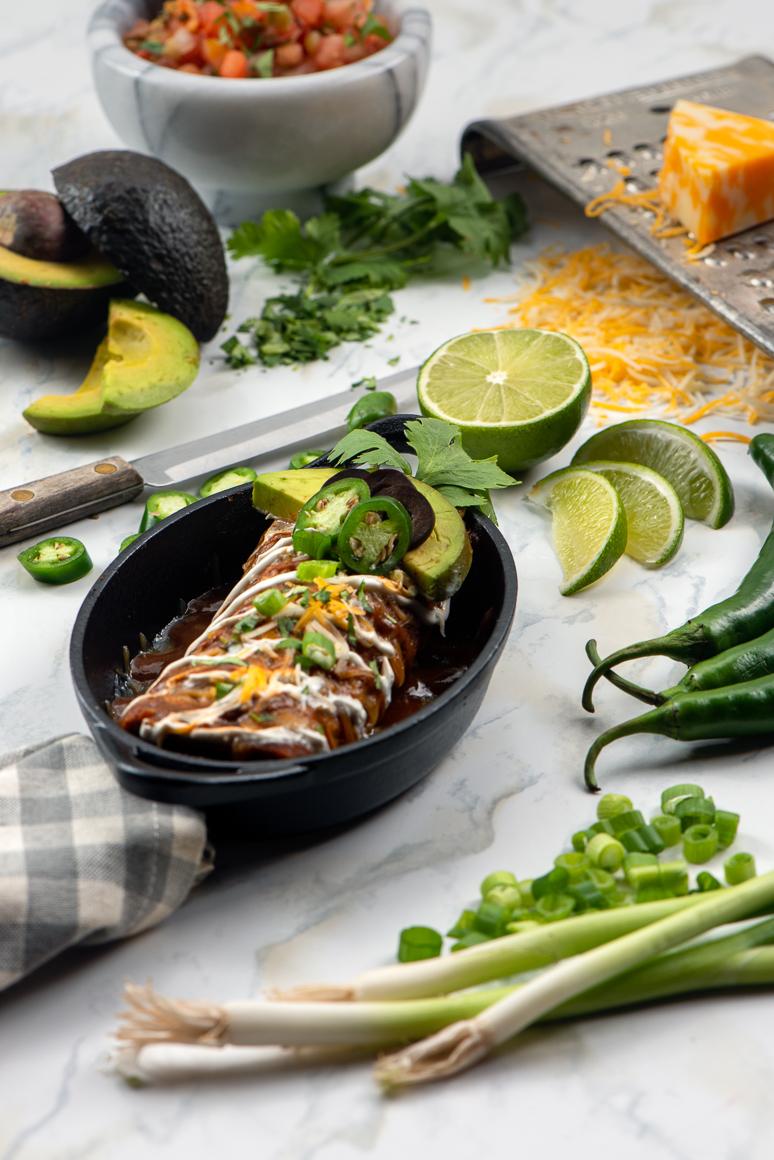 Small cast iron dish with enchilada