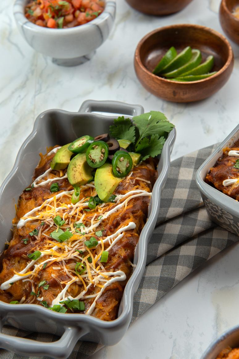 Baking dish with enchiladas