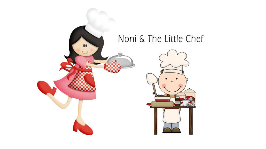Cartoon characters of a woman chef and little boy chef