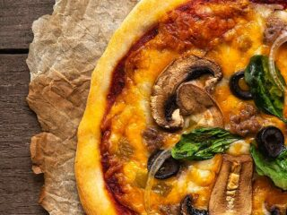 Close up of combination pizza.