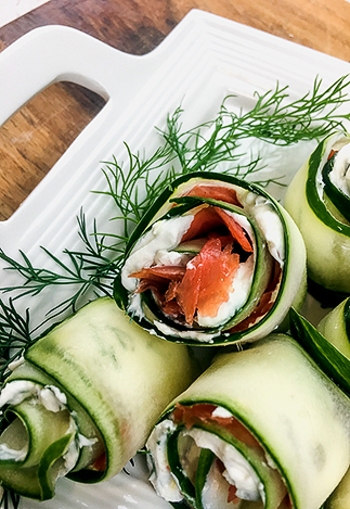 assembled smoked salmon cucumber roll-up appetizers