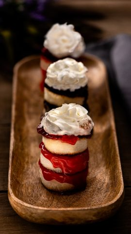 Three Broiled Angel Food Cake desserts.